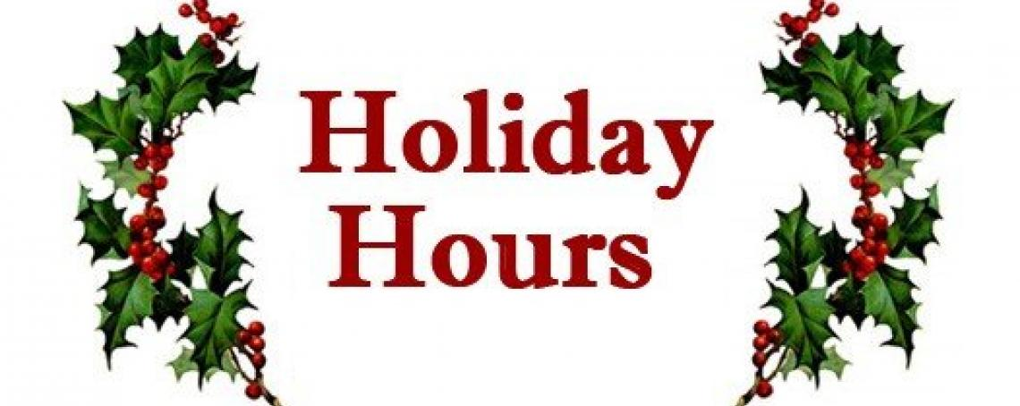 2017 Christmas Holiday Hours