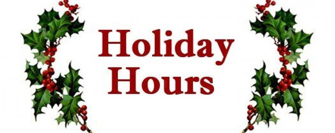2017 Christmas Holiday Hours